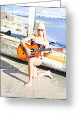 Smiling Girl Strumming Guitar At Tropical Beach Greeting Card