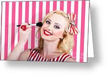 Smiling Makeup Girl Using Cosmetic Powder Brush Greeting Card