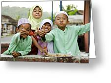 Smiling Muslim Children In Bali Indonesia Greeting Card
