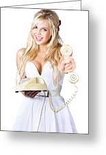 Smiling Woman With Retro Telephone Greeting Card