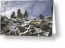 Snow Covered Cliffs And Trees Greeting Card