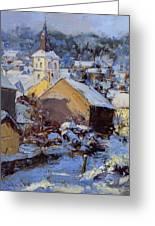 Snow Village Greeting Card