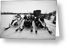 snowmobiles parked in Kamsack Saskatchewan Canada Greeting Card by Joe Fox