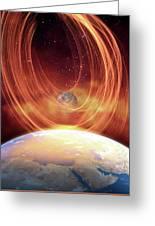 Solar Flare Hitting Earth Greeting Card