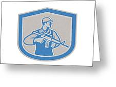 Soldier Military Serviceman Rifle Side Crest Retro Greeting Card