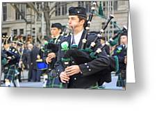 Some Bagpipers Marching In The 2009 New York St. Patrick Day Parade Greeting Card