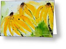 Sonnenhut -  Floral Painting  Greeting Card by Ismeta Gruenwald