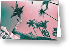 South Beach Miami Tropical Art Deco Wide Palms Greeting Card
