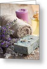 Spa With Lavender And Towel Greeting Card