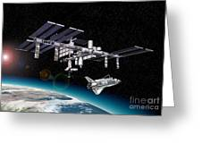 Space Station In Orbit Around Earth Greeting Card