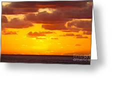 Spectacular Dramatic Orange Sunset Over The Ocean Greeting Card