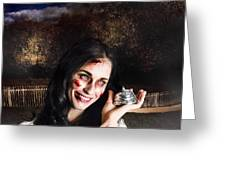 Spooky Girl With Silver Service Bell In Graveyard Greeting Card