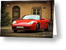 Sport Car In The Old Town Scenery Greeting Card