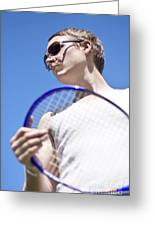 Sporting A Racquet Greeting Card
