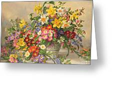 Spring Flowers And Poole Pottery Greeting Card