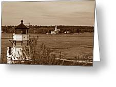 Squirrel Point Lighthouse Greeting Card by Skip Willits