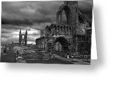 St Andrews Cathedral And Gravestones Greeting Card