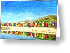 St James Beach Huts South Africa Greeting Card