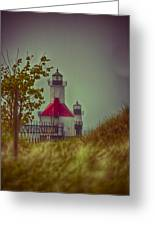 St. Joseph North Pier Lighthouse Lake Michigan. Greeting Card