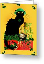 St Patrick's Day - Le Chat Noir Greeting Card