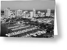 St Petersburg Skyline And Yacht Basin Marina Greeting Card