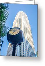 Standing By The Clock On City Intersection At Charlotte Downtown Greeting Card