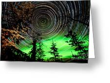 Star Trails And Northern Lights In Sky Over Taiga Greeting Card