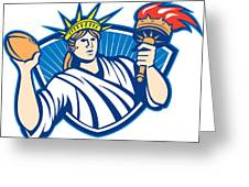 Statue Of Liberty Throwing Football Ball Greeting Card