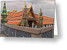 Statues At A Temple, Wat Phra Kaeo Greeting Card