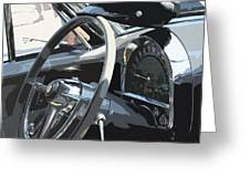 Steering Wheel Cap And Speedometer Abstract Greeting Card