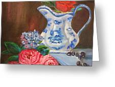 Rose And Pitcher Jenny Lee Discount Greeting Card
