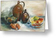 Still Life With Earthen Jugs Greeting Card