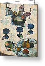 Still Life With Three Puppies Greeting Card