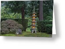 Stone Lantern Illuminated With Candles Greeting Card