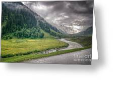 storm clouds over mountains of ladakh Jammu and Kashmir India Greeting Card