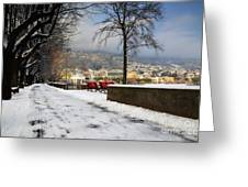 Street With Snow Greeting Card