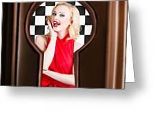 Stylish Surprised Women Portrait. Pinup Secret Greeting Card