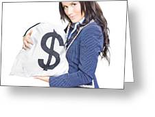 Successful Business Woman Holding Bags Of Money Greeting Card