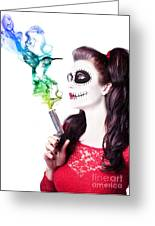 Sugar Skull Girl Blowing On Smoking Gun Greeting Card