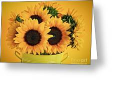 Sunflowers In Vase Greeting Card by Elena Elisseeva