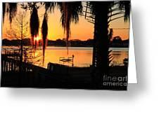 Sunrise On Lake Weir - 4 Greeting Card