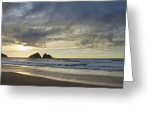 Sunset At Holywell Bay Greeting Card