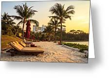 Sunset Holiday Greeting Card by Niphon Chanthana