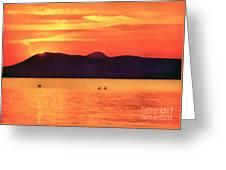 Sunset In The Balaton Lake Greeting Card