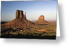 Sunset Light With Mittens And Desert In Monument Valley Arizona  Greeting Card