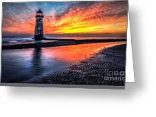 Sunset Lighthouse Greeting Card