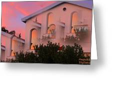 Sunset On Houses Greeting Card by Augusta Stylianou