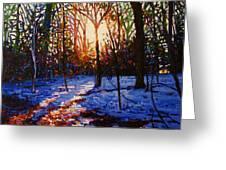 Sunset On Snow Greeting Card