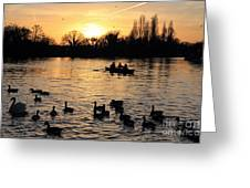 Sunset On The Thames At Walton Greeting Card