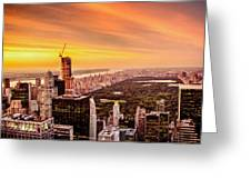 Sunset Over Central Park And The New York City Skyline Greeting Card